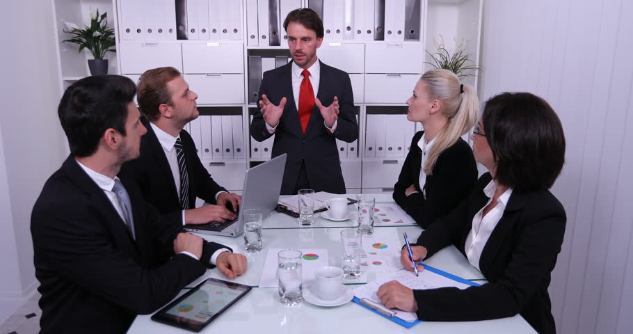 Manager Man Standing Talking with Business Team in Boardroom Planning Discussing | Shutterstock HD Video #32829832