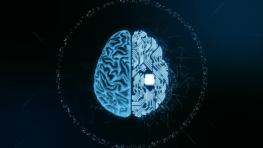 Artificial intelligence (AI) brain animation, data mining, deep learning modern computer technologies concepts. Brain representing artificial intelligence with printed circuit board (PCB) design.
