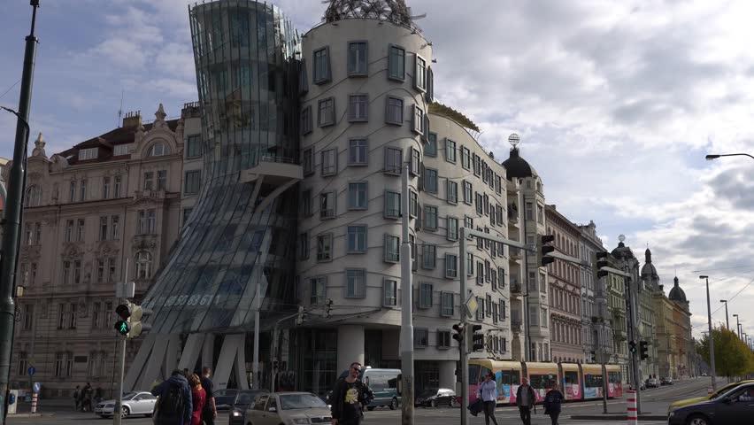Prague, Czech Republic   OCTOBER, 2017: Architecture And Traffic In Prague  , Czech