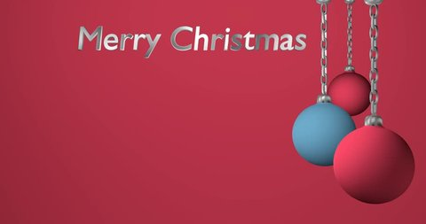 rotating blue and pink christmas balls with stars and the text Merry Christmas
