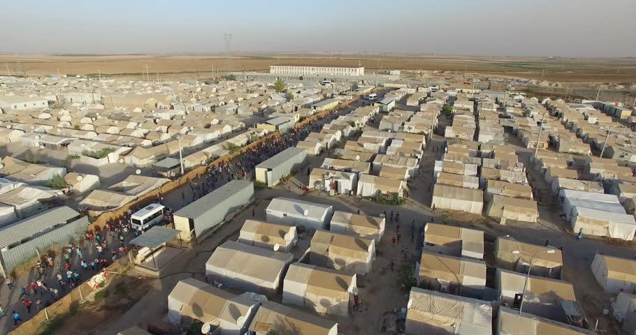 Aerial shot of  syrian refugees camp in Sanliurfa, Turkey. | Shutterstock HD Video #32860321