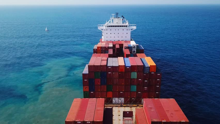 Mediterranean sea - November 15, 2017: Large ZIM container ship at sea, loaded with various container brands - Aerial footage | Shutterstock HD Video #32861161
