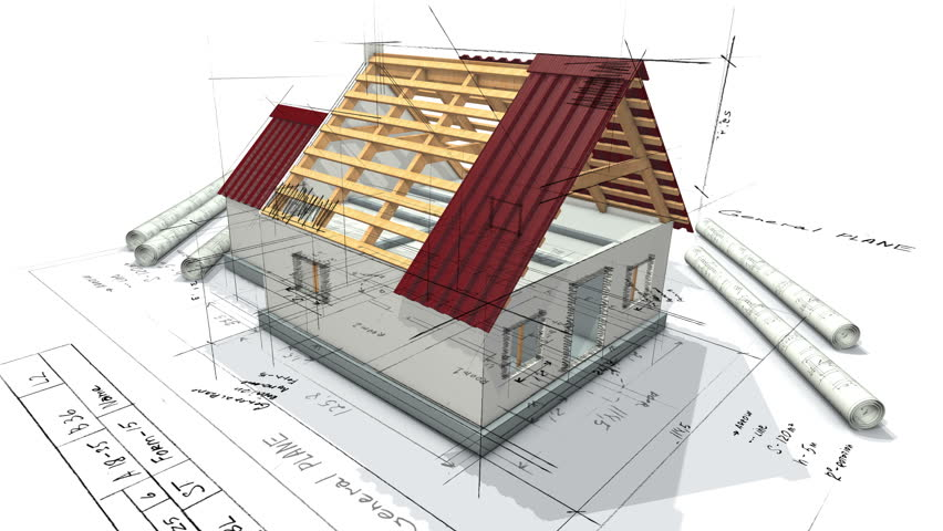Architectural plan for building a house and a mock house with a roof. 3d looping animation. | Shutterstock HD Video #32862535