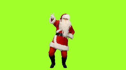 Santa Claus dancing Christmas dance on green background, Chroma key, 4k footage