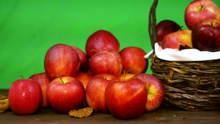 Red apples after harvest on the table and in the basket. chromakey background | Shutterstock HD Video #32868970