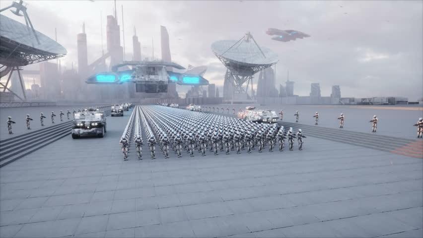 Invasion of military robots. Dramatic apocalypse super realistic concept. Future. 4k animation. | Shutterstock HD Video #32877211