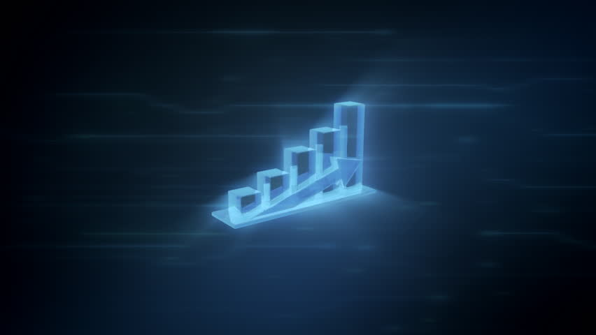3d chart showing profit, spinning in 360 degree on a blue digital background with light effects, loop animation | Shutterstock HD Video #32895073