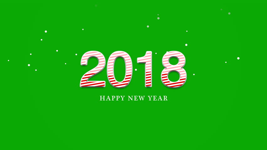 Superior Happy New Year 2018 Text, Animated Footage In 4K. Close Up Numbers And Text