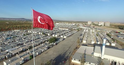 Aerial shot of syrian refugees camp in Kilis,Turkey