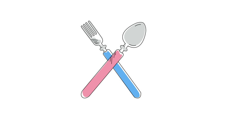 Alphabet kitchen Abc English letter X with hand drawn Fork Spoon Knife on white background. Animated concept for banner, card, billboard, app or web site. 2D cartoon animation in 4K.