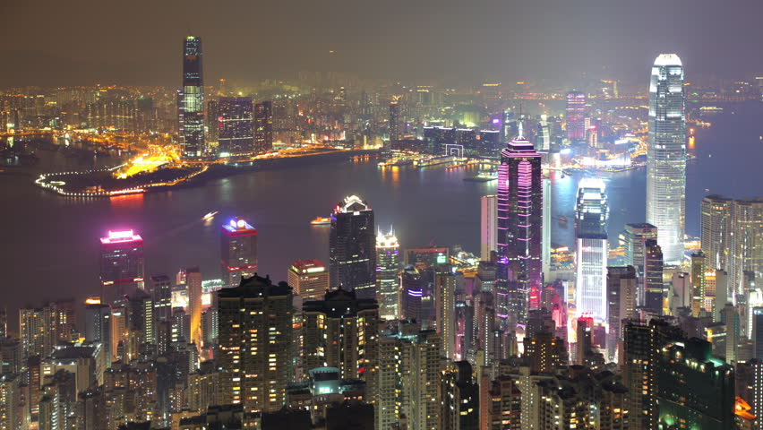 Time Lapse of Hong Kong. Hong Kong Island in the foreground and Kowloon across the Harbor.   Shutterstock HD Video #32938231