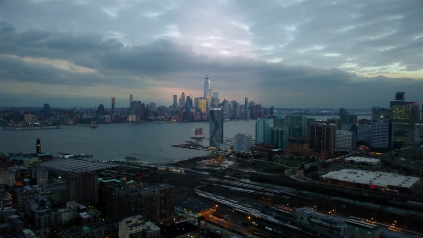 Unique Aerial View of Downtown Manhattan and Downtown Jersey City at evening 4K | Shutterstock HD Video #32941321