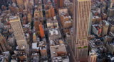 New York - Circa Aug 2012: Aerial view Empire State Building Midtown Manhattan skyscrapers, East river, Queens, New York, USA