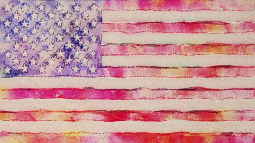 stop motion of watercolor drawn USA flag cartoon animation seamless loop - new quality national patriotic colorful symbol video footage
