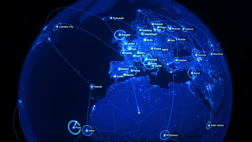Global Connections over Noth Hemisphere. Global Communications - Destinations all over the World. Global Communications through the Network of Connections. Arrows fly between Cities.