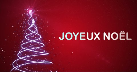 Christmas tree forming with particle on snowy background with the word Merry Christmas in French. Joyeux Noel avec une animation d'arbre de Noel.