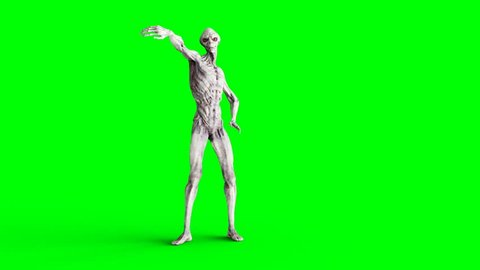 Funny alien dancing . Realistic motion and skin shaders. 4K green screen footage.