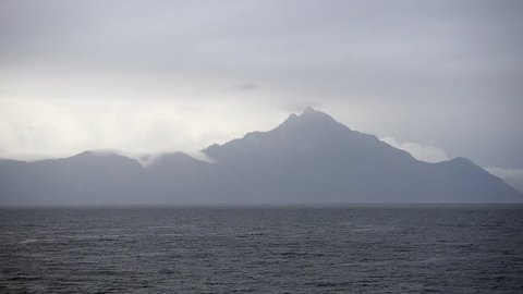 The famous Mount Athos over Aegean sea during Gray day in Greece