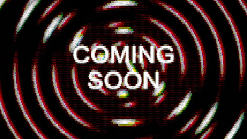 The text Coming soon appears over a set of spinning circles. Grindhouse low-budget b-movie. ASCII art vintage PC terminal animation fx, from the time when computers didn't have pixel graphics.  | Shutterstock HD Video #33012571