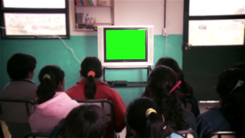 "Male and Female Students Watching Green Screen TV During Class.  You can replace green screen with the footage or picture you want with ""Keying"" effect in AE  (check out tutorials on YouTube)."