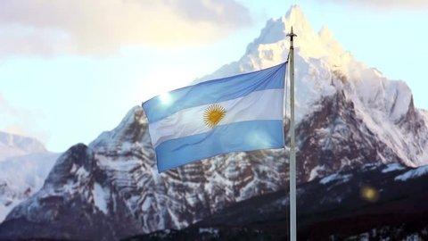 Argentina Flag in Ushuaia, Tierra del Fuego.