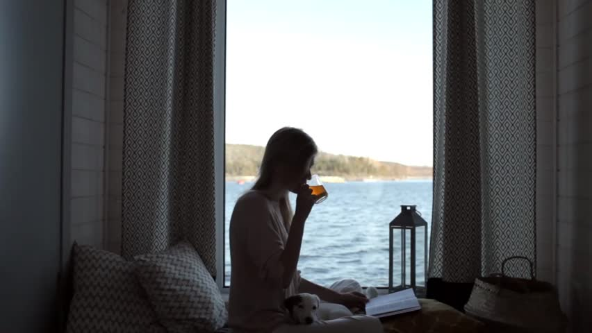 girl with a puppy reading a book and drinking tea sitting by the window with a lake view | Shutterstock HD Video #33050611