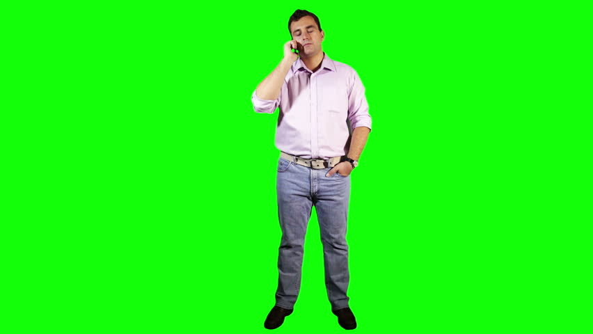 Young Man TouchScreen Phone Bad News Full Body Greenscreen