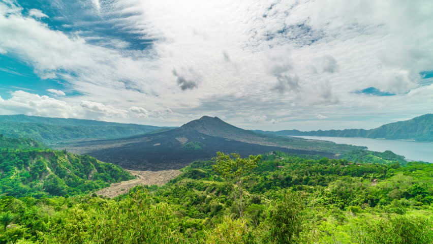 Timelapse Kintamani Volcano under blue sky in Gunung Batur in Bali, Indonesia | Shutterstock HD Video #33073351