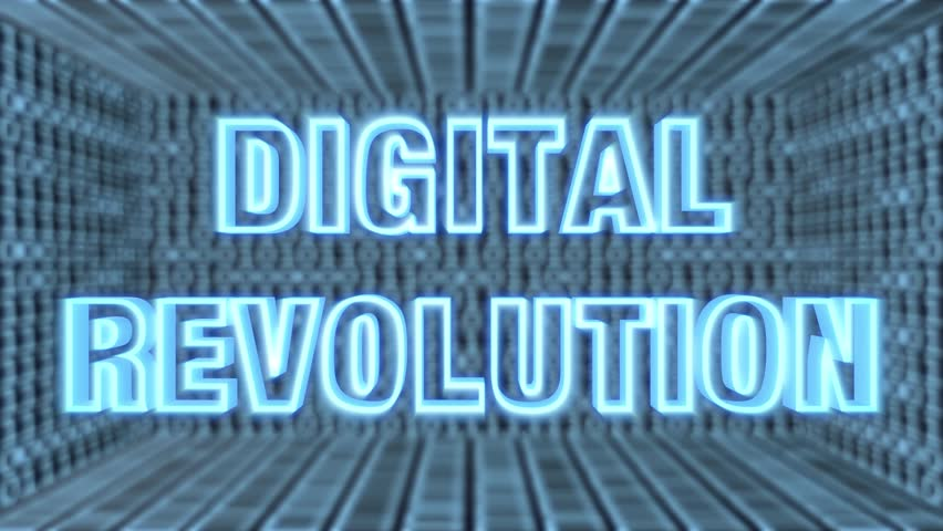 "Seamless looping 3d animated futuristic motherboard with the animated word ""Digital Revolution"" in 4K resolution"