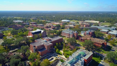 TALLAHASSEE, FL, USA - NOVEMBER 11, 2017: Aerial video FAMU Tallahassee Florida university college 4k 60p