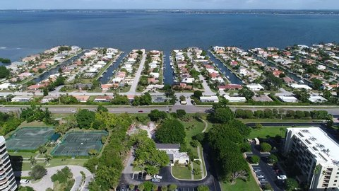 An aerial view of residential Longboat Key near Sarasota, Florida on a sunny November afternoon.