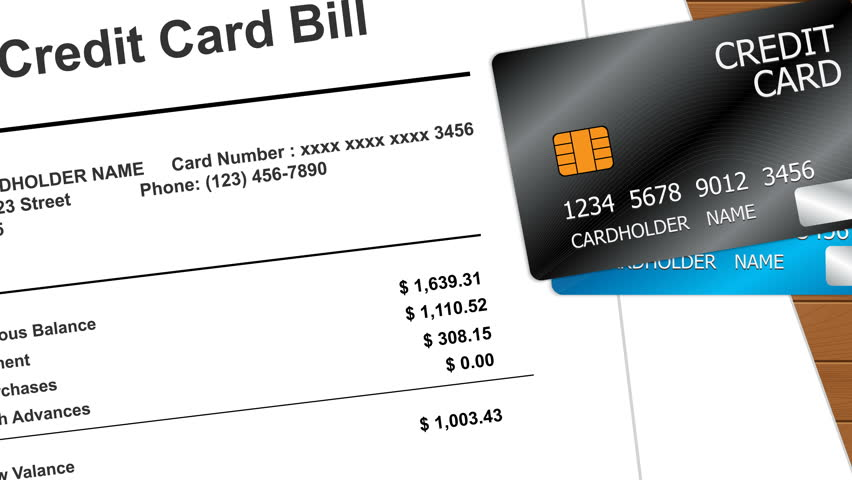 Animation of Credit Card on top of a Credit Card Billing Statement. Seamless Loops.