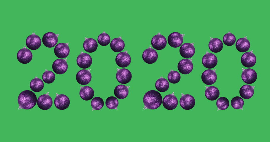 New year 2020. Animated numbers. The symbols of digits consist of rotating purple balls for decorating a Christmas tree. 360 degrees looped rotation shot on green screen. | Shutterstock HD Video #33108385