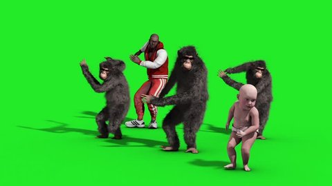 Group Chimpanzee Man Baby House Dance Dancer Green Screen 3D Rendering Animation Animals