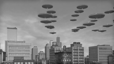 Vintage Alien Invasion: UFO Armada over Downtown (Black and White)