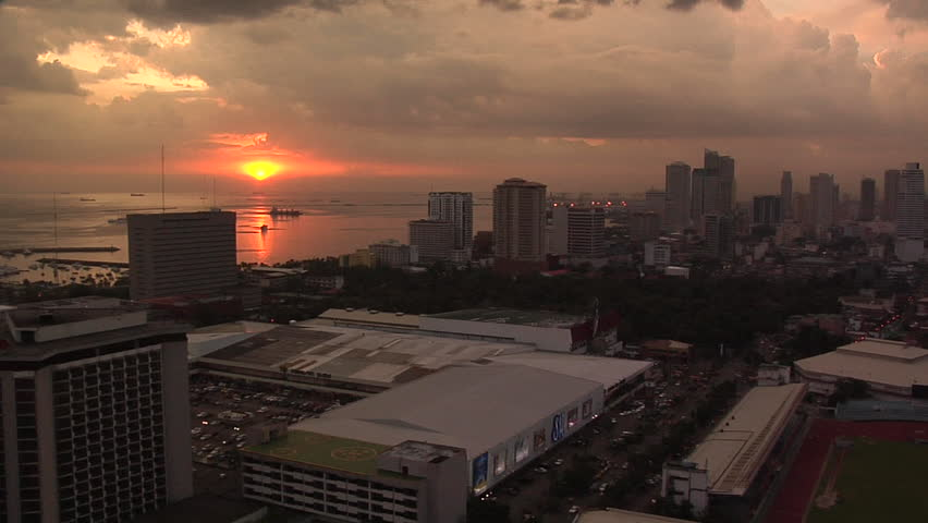 Dramatic Sunset and the Skyline of Malate and Manila Bay, Philippines | Shutterstock HD Video #3314561