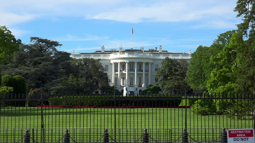 Close Up Of The White House Building By Day Washington Dc