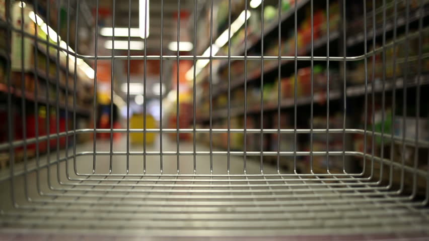Empty shopping cart moving through supermarket   Shutterstock HD Video #33167488