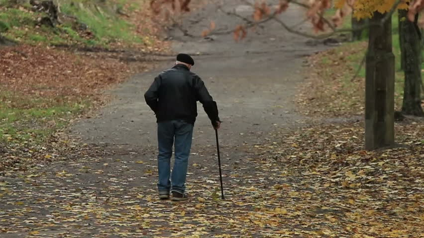 Old man with a stick walks away in an autumn park with a fallen foliage on his path (720p, 25fps)