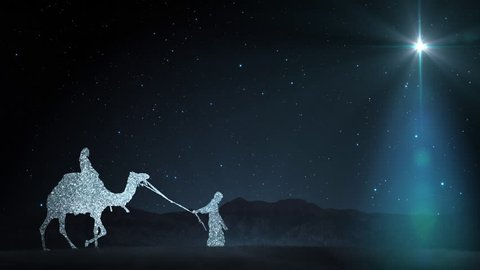 Christmas Scene with twinkling stars and brighter star of bethlehem with sparkling nativity characters.