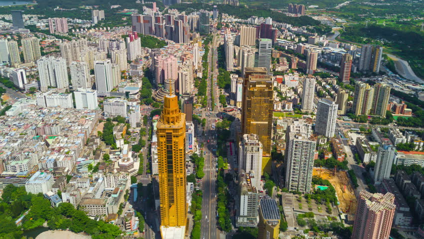 shenzhen city sunny day traffic road aerial panorama 4k time lapse china