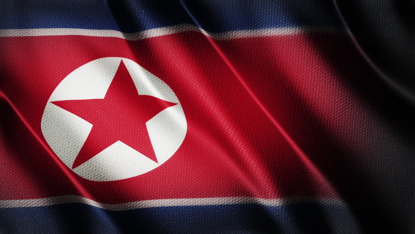 North Korea flag animation stock footage. North Korea Country flag animation waving in the breeze with cotton texture and in close up. | Shutterstock HD Video #33216061