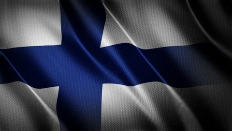 Finland Country flag animation stock footage. Finland Country flag animation waving in the breeze with cotton texture and in close up.
