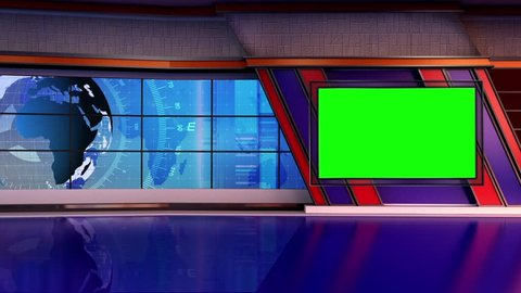 Blue colored rotating globe in background window for News best TV Program seamless loopable HD Video