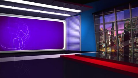 Purple colored rotating globe in background window for News best TV Program seamless loopable HD Video