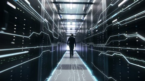 IT Engineer Moving Followed By Conceptual Representation of Digitization of Information Flow Moving Through Rack Servers in Data Center. Shot on RED EPIC-W 8K Helium Cinema Camera.