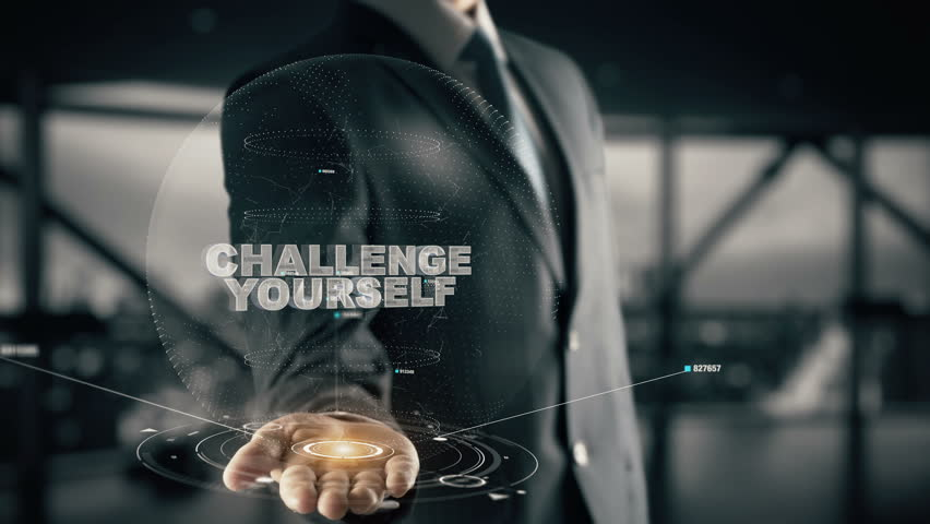 Challenge Yourself with hologram businessman concept