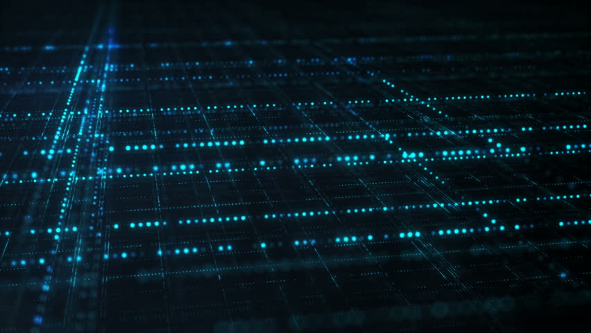 Blue sci-fi grid. Information technology futuristic concept. Computer generated seamless loop animation 4k (4096x2304) #33281281