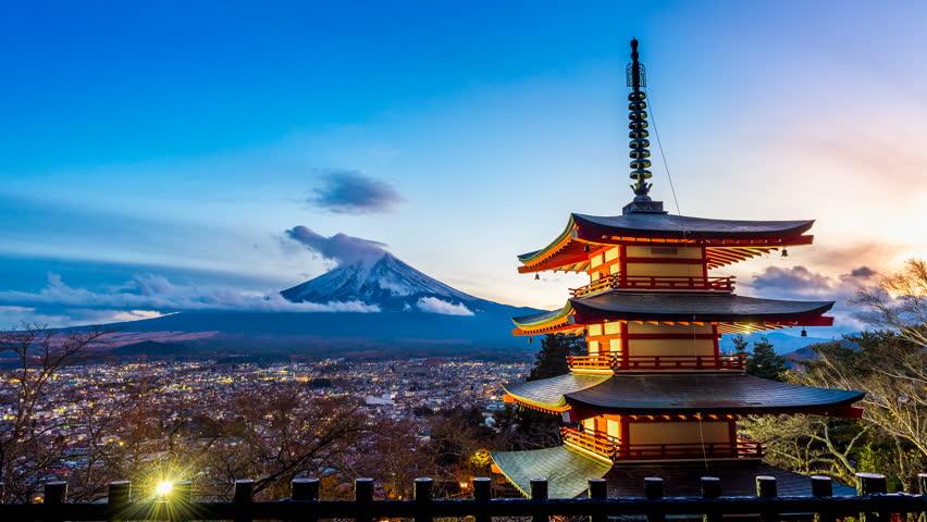 Timelapse of Mt. Fuji with Chureito Pagoda at night, Fujiyoshida, Japan | Shutterstock HD Video #33288901