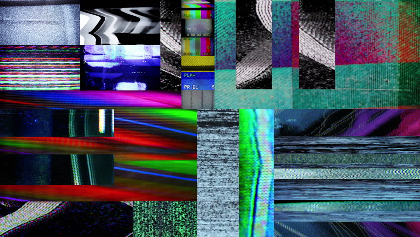 a mix of different television and video glitches and static captured from old tvs